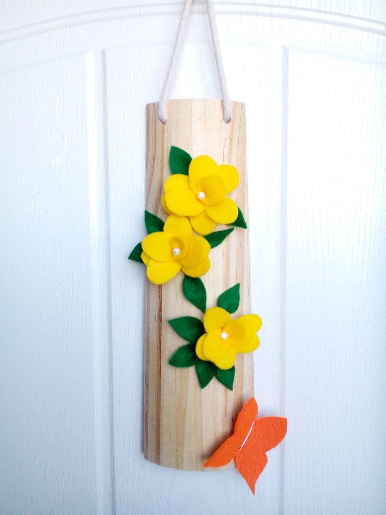 tegolina handmade in legno  fiori  feltro regalo natale pannolenci fatto a mano decorazione parete misshobby doni e bomboniere