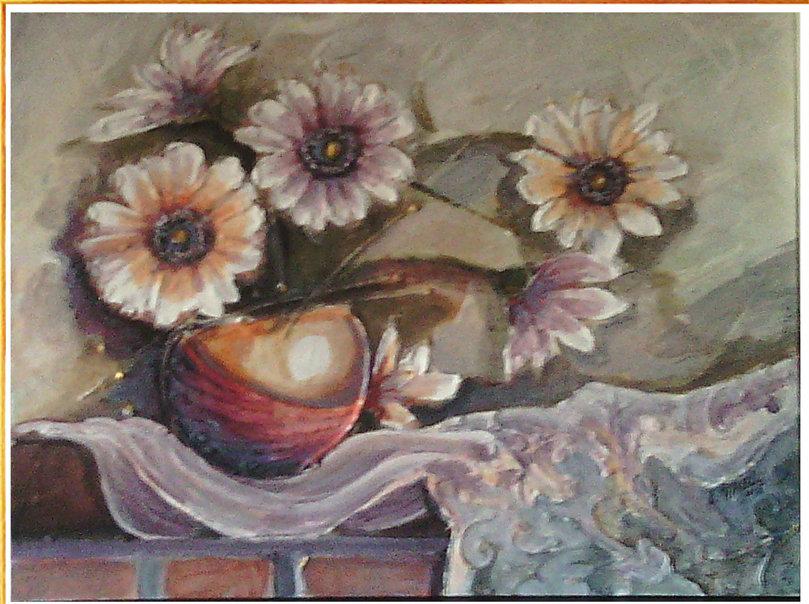 Quadro acrilico su tavola fiori