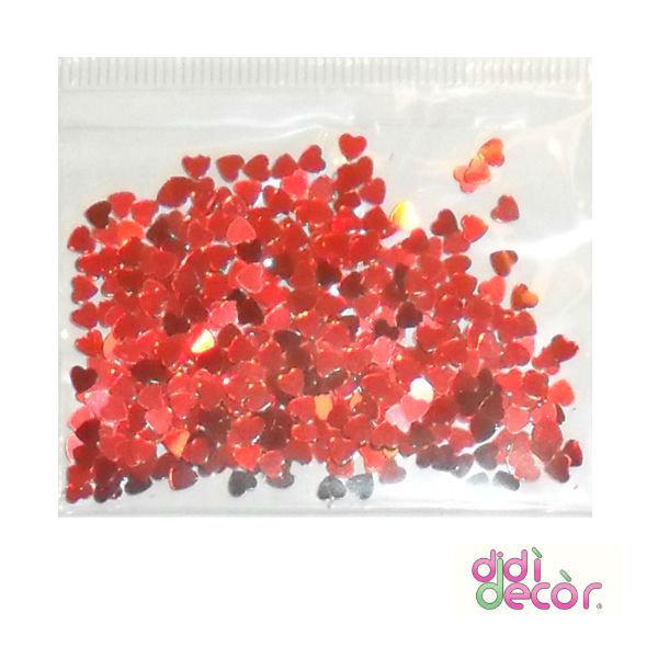 Paillettes metallizzate rosse - cuori