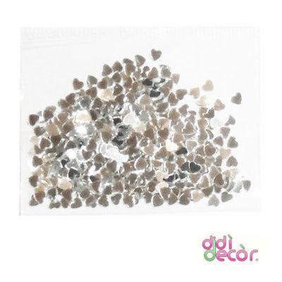 Paillettes metallizzate argento - cuori