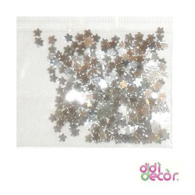 Paillettes metallizzate argento - fiorellini