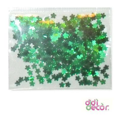 Paillettes metallizzate verdi - fiorellini