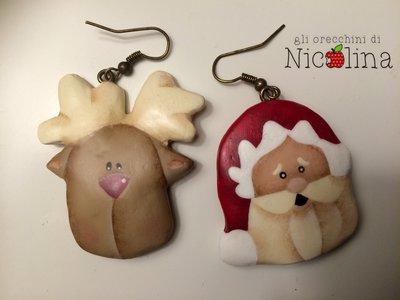 Orecchini di Natale ... Babbo Natale / Renna Rudolph