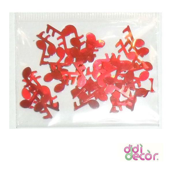 Paillettes metallizzate rosse - note musicali