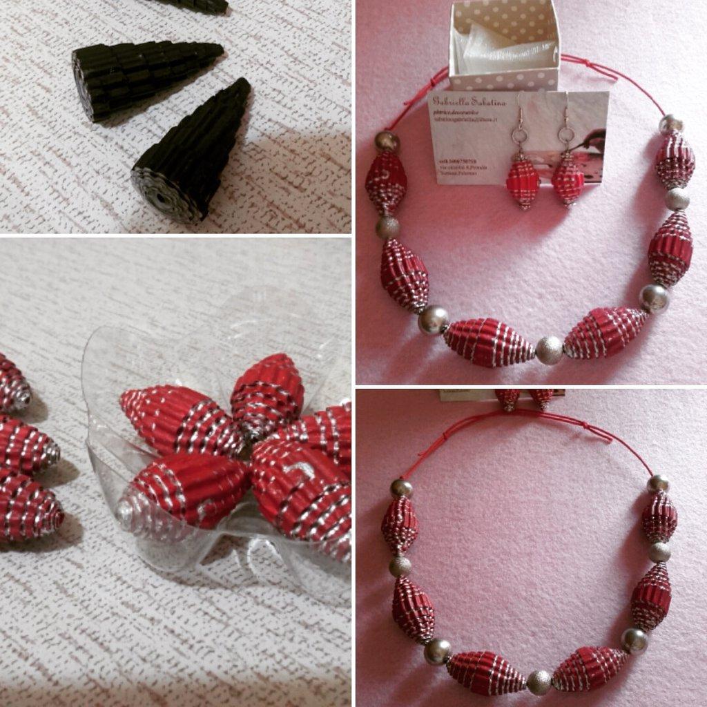 collier con perle in carta rosso-argento oppure a cono nere-argento