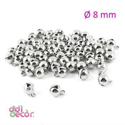 10 campanellini in ottone 8 mm - Argento