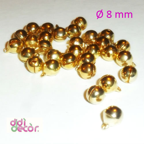 10 campanellini in ottone 8 mm - Oro