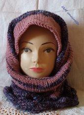 Maxi sciarpa ad anello rosa antico e viola sfumato in misto lana ai ferri
