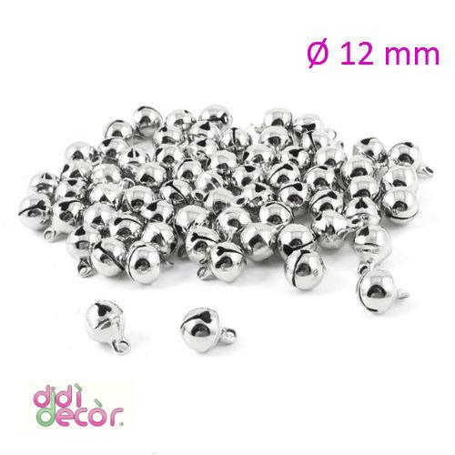 10 campanellini in ottone 12 mm - Argento