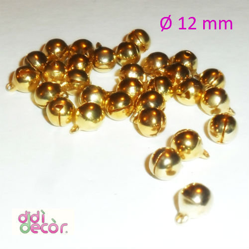 10 campanellini in ottone 12 mm - Oro