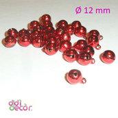 10 campanellini in ottone 12 mm - Rosso