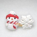 Orecchini lobo perno omino di neve fiocco pupazzo rosso idea regalo natale acciaio