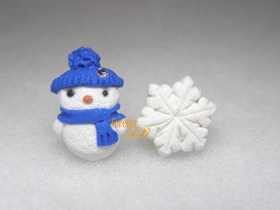 Orecchini lobo perno omino di neve fiocco pupazzo blu regalo natale fimo kawaii acciaio