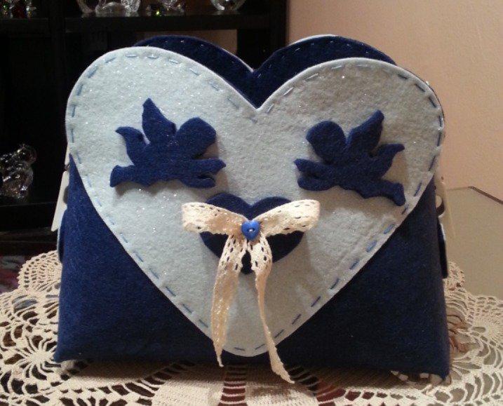 Cestino di feltro blu con angioletti