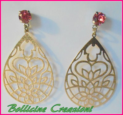 Orecchini a Perno Chaton Swarovski rose con filigrana  a goccia colore oro rosa