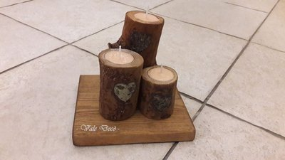 """""""L'abbraccio""""...candele in ciocchi di legno di faggio"""