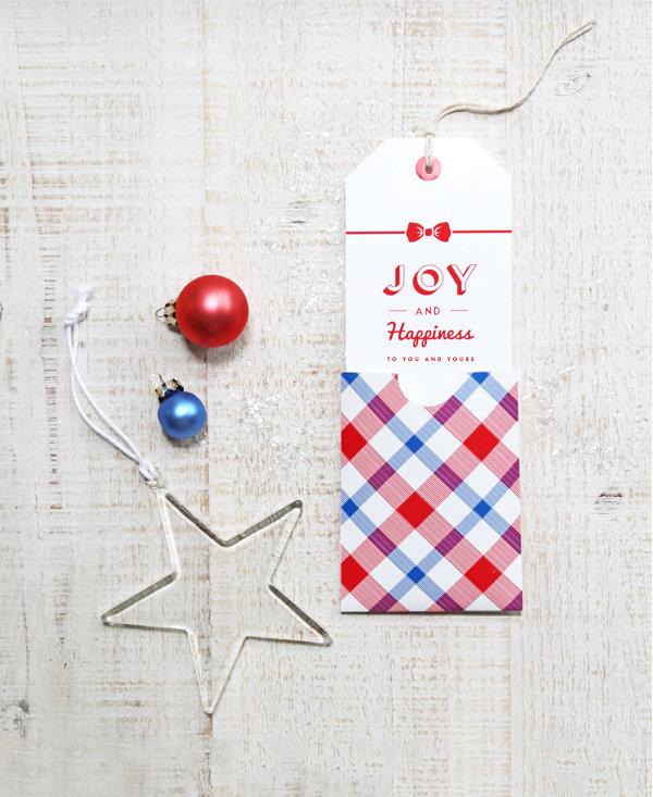 Set con 4 Tags + 4 Buste per decorazioni Natale