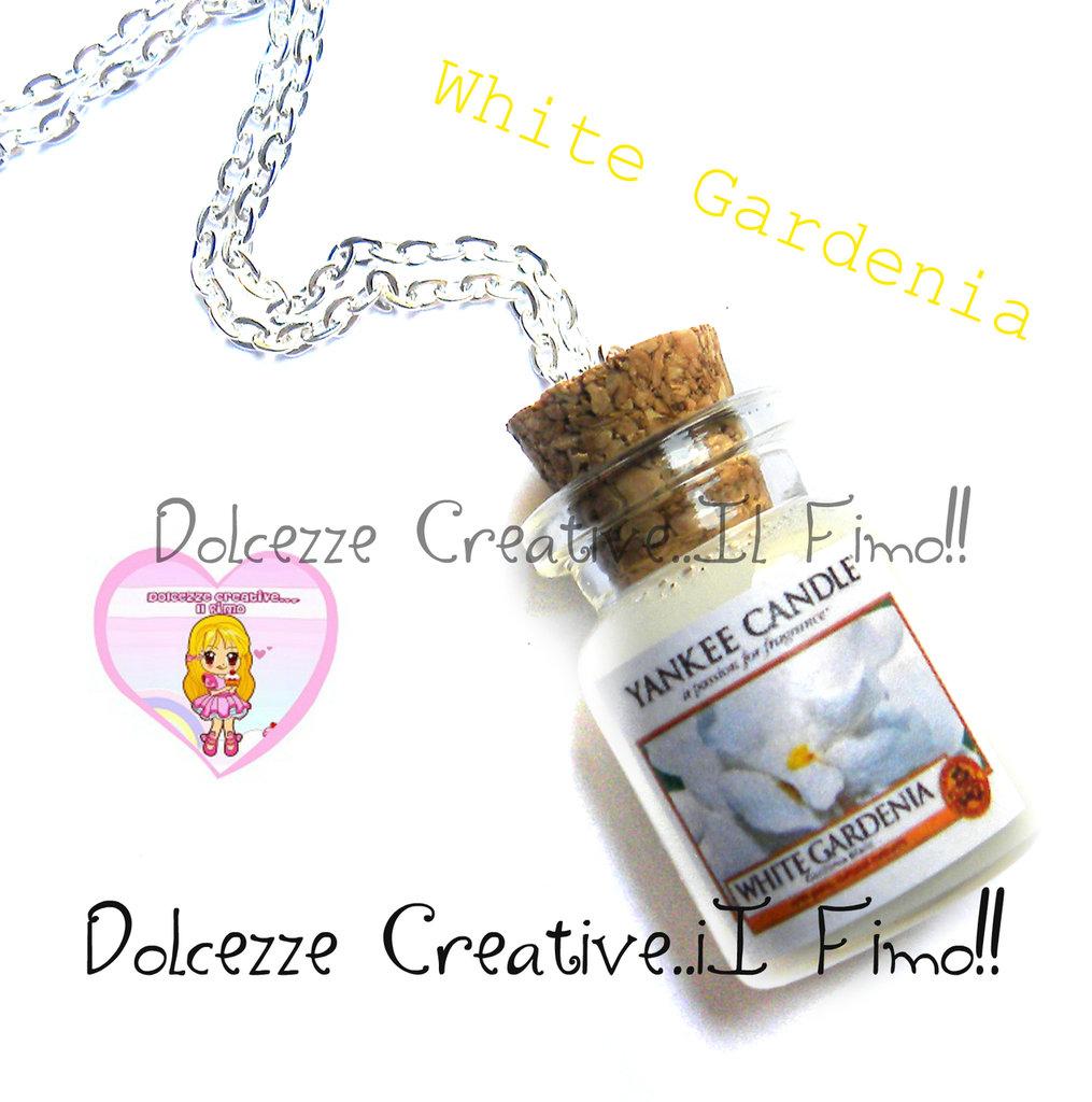 Collana Candela - Yankee Candle HANDMADE White Gardenia idea regalo
