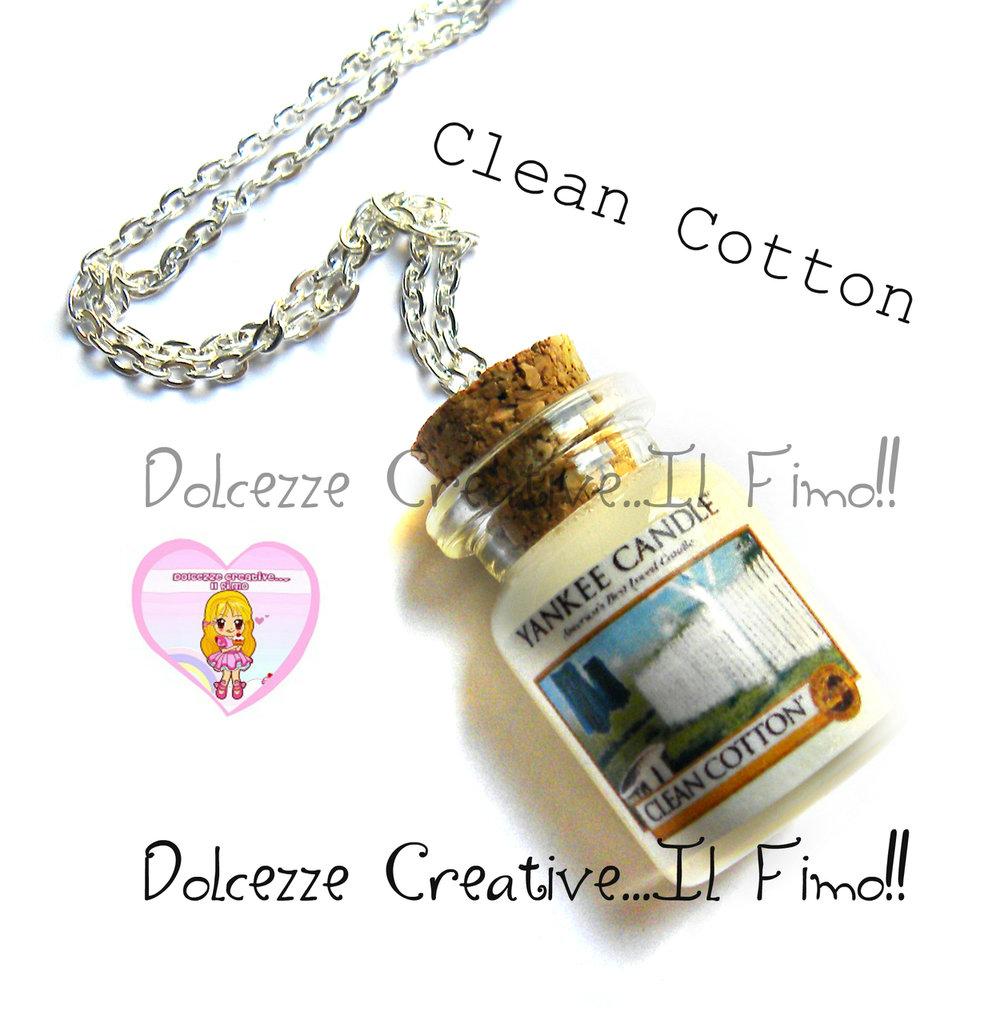 Collana Candela - Yankee Candle HANDMADE Clean Cotton idea regalo