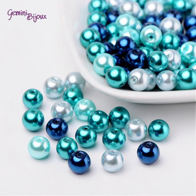 Lotto 50 perle Mix Blu dei Caraibi 8 mm.