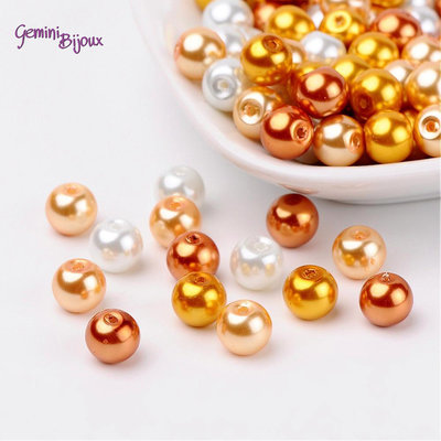 Lotto 50 perle Mix Caramel 8 mm.