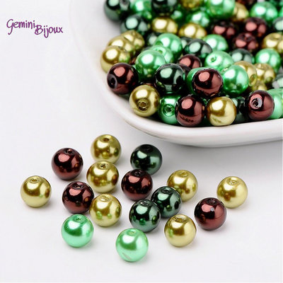 Lotto 50 perle Mix Ciocco-Menta 8 mm.
