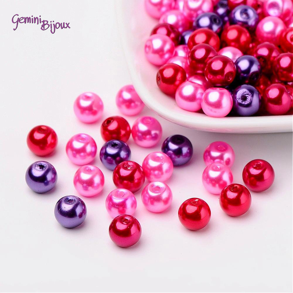 Lotto 50 perle Mix San Valentino 8 mm.