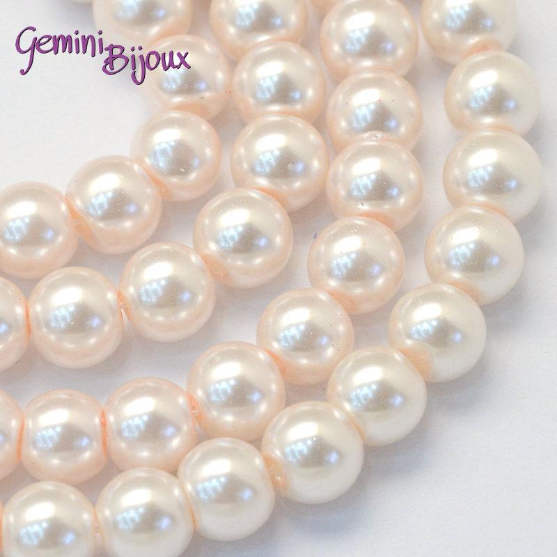 Lotto 20 perle tonde in vetro cerato 8mm Antique White