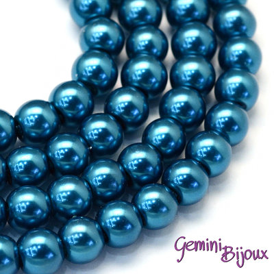 Lotto 20 perle tonde in vetro cerato 8mm CadetBlue