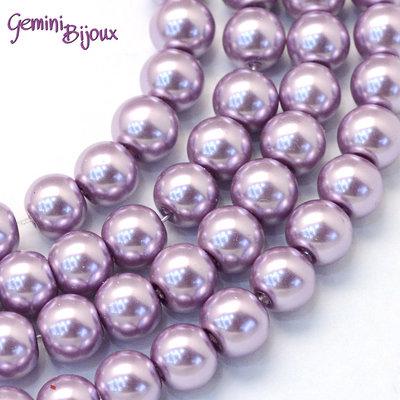 Lotto 20 perle tonde in vetro cerato 8mm Lilla