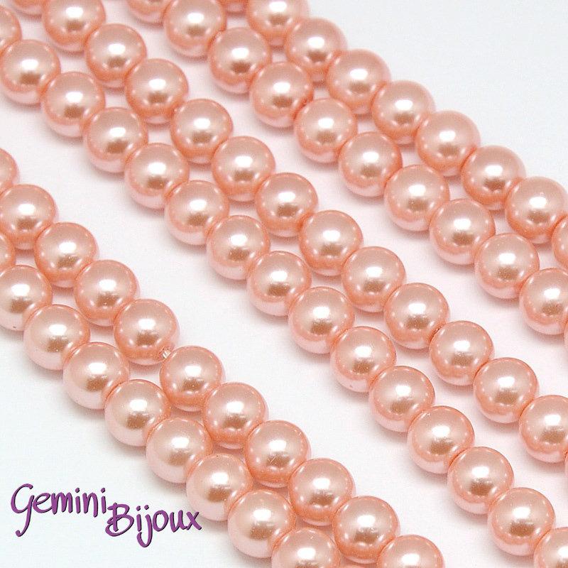Lotto 20 perle tonde vetro cerato 6mm Rosa Salmone chiaro.