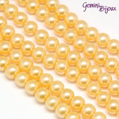 Lotto 20 perle tonde vetro cerato 6mm Pesca.