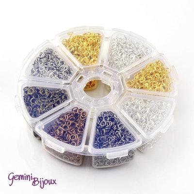 Box anellini in metallo 8mm mix di colori