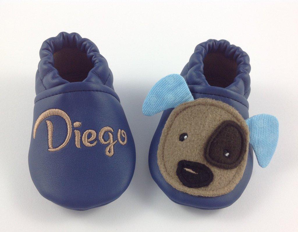 Scarpine ecopelle blu Cagnolino personalizzate con nome - Bimbo Neonato 3-6 mesi