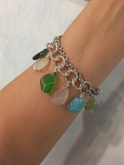 Collana/bracciale in *vetro di mare* *multicolore* e alluminio argentato, fatta a mano - Joy- (VENDUTO)