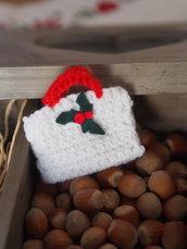 Mini BORSA bianca/rossa uncinetto.Decorazione di Natale.Segnaposto,Confezione per gioiello,bomboniera(personalizzabile).Ornamento per pacco
