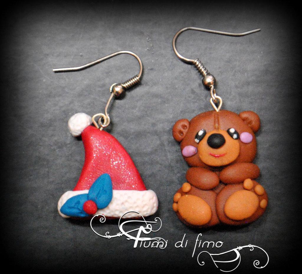 orecchini natalizi| orecchini fimo| orecchini natale| orsetto fimo| natale fimo| gioielli fimo| polymerclay earrings| christmas earrings|