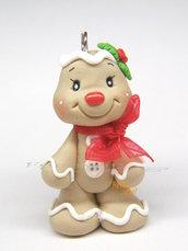 Collana natalizia ciondolo omino pan di zenzero kawaii fimo Natale idea regalo