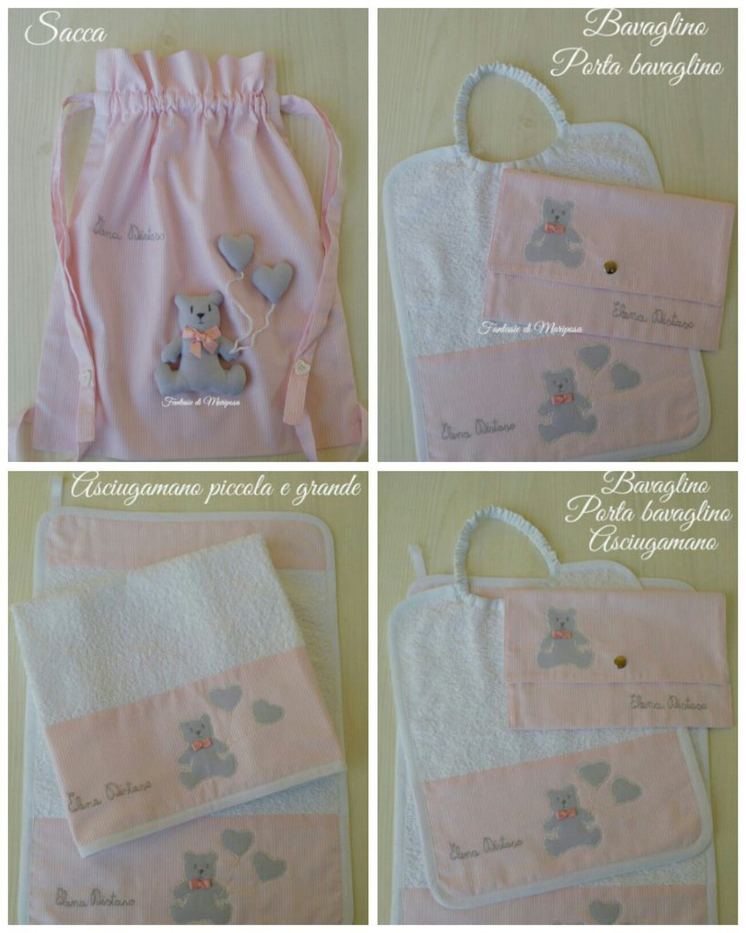 Set asilo bimba - Sacca,asciugamano,bavaglino - Idea regalo