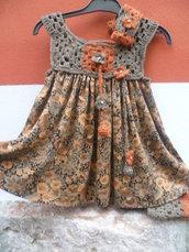 scamiciato bimba,handmade,pezzo unico con guantini in regalo