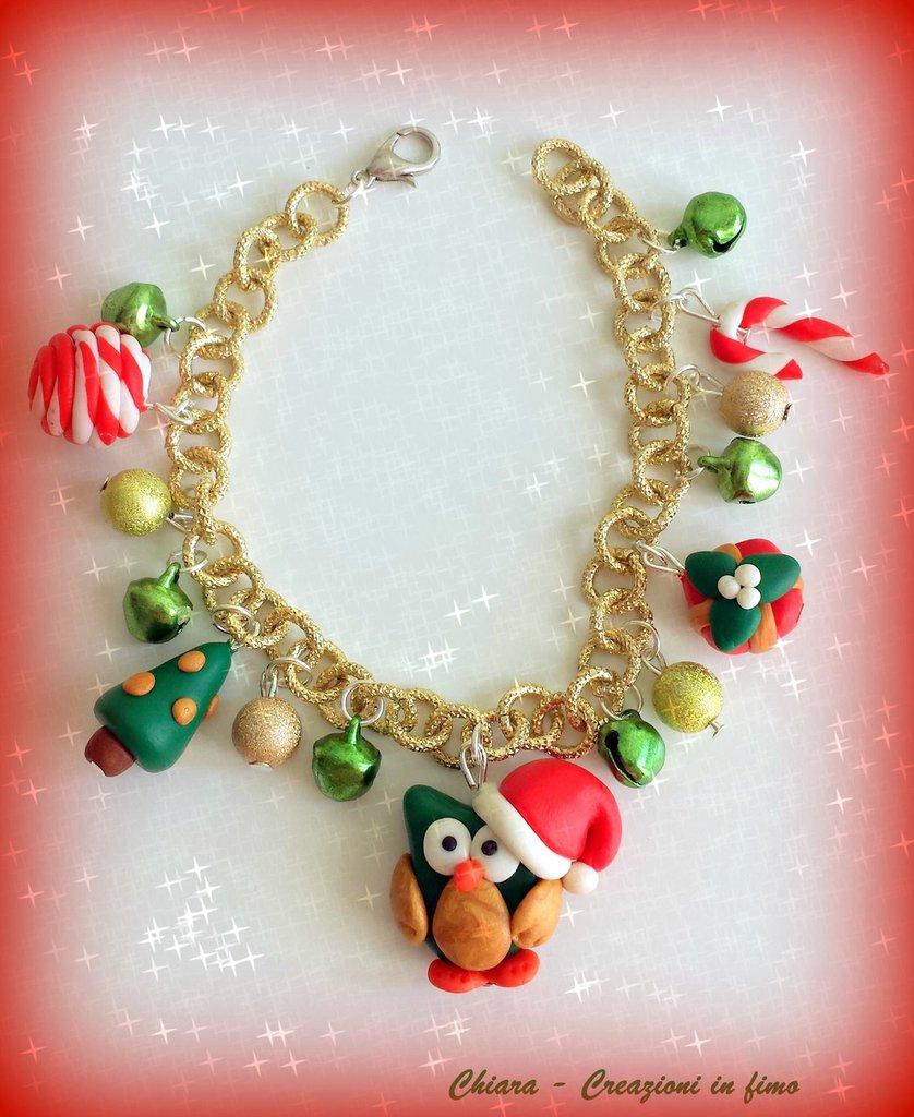 Bracciale in fimo elegante handmade con motivi natalizi e gufetto idee regalo natale