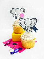 Toppers per Cupcake Elefanti Set con 10 pezzi