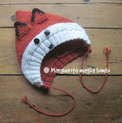 Cappello volpina, cappuccio, berretto bambino in pura lana e alpaca fatto a mano ai ferri