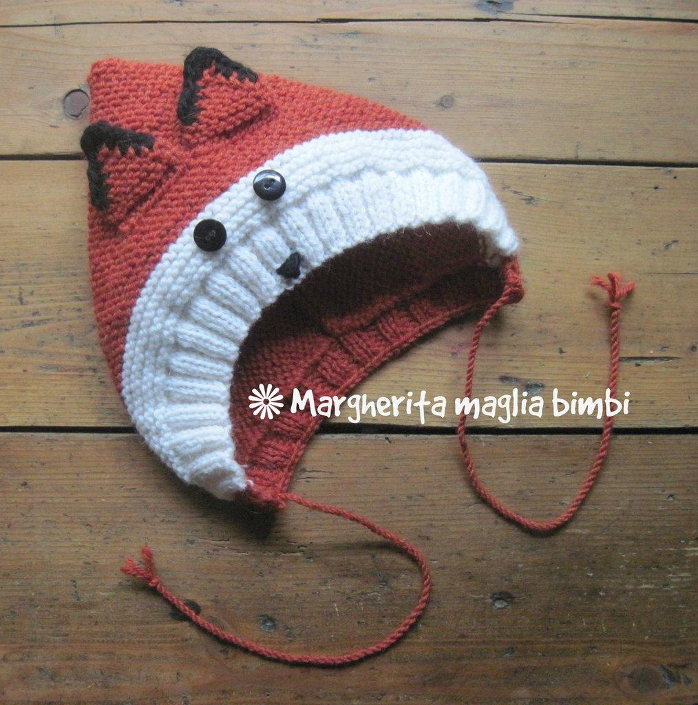 ultima moda nuova stagione alta moda Cappello volpina, cappuccio, berretto bambino in pura lana e alpaca fatto a  mano ai ferri