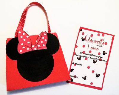 Invito borsetta Minnie 3D fatto a mano