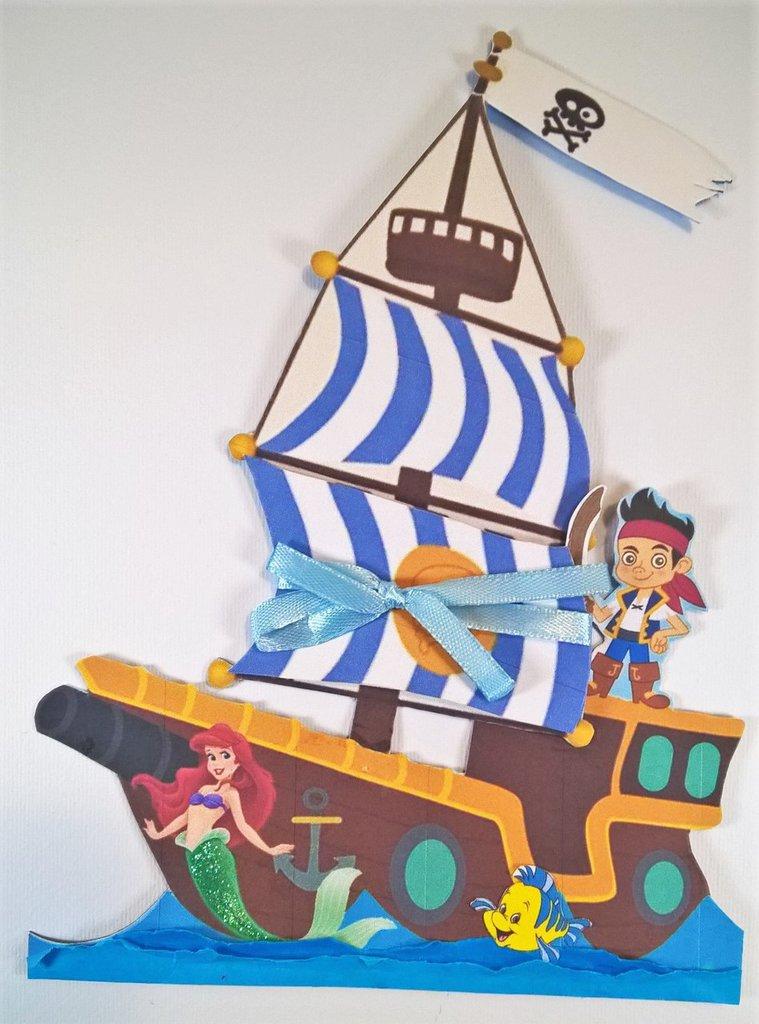 Invito festa di compleanno - Jake e i pirati dell'isola che non c'è e Ariel