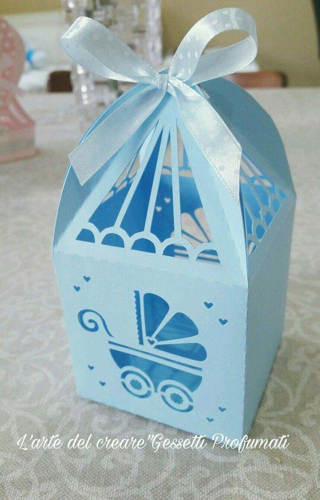Scatola bomboniera (0,90pz) sacchetto porta-confetti Battesimo Nascita baby