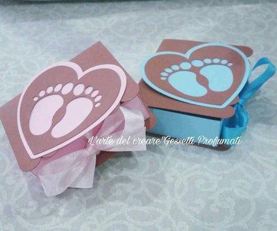 Scatola bomboniera (0,70pz) sacchetto porta-confetti Battesimo Nascita Piedini