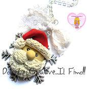 ☃ Natale In Dolcezze 2016 ☃ Collana cammeo fiocco di neve con babbo natale handmade