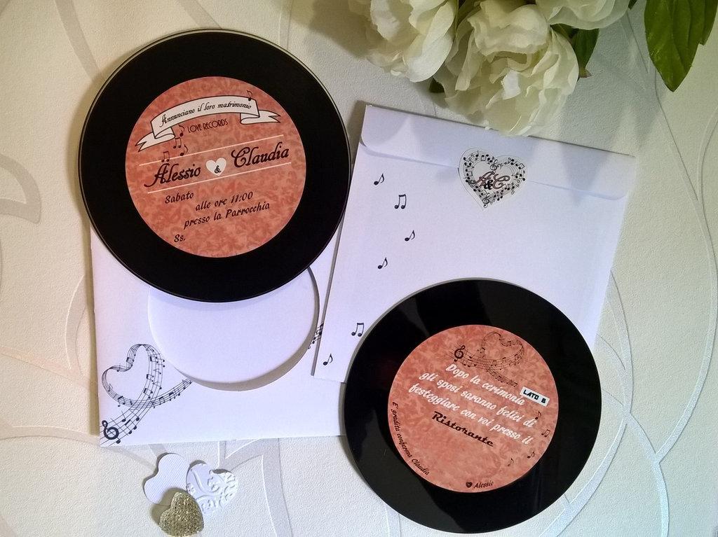 Partecipazioni matrimonio tema musica cd-disco in vinile